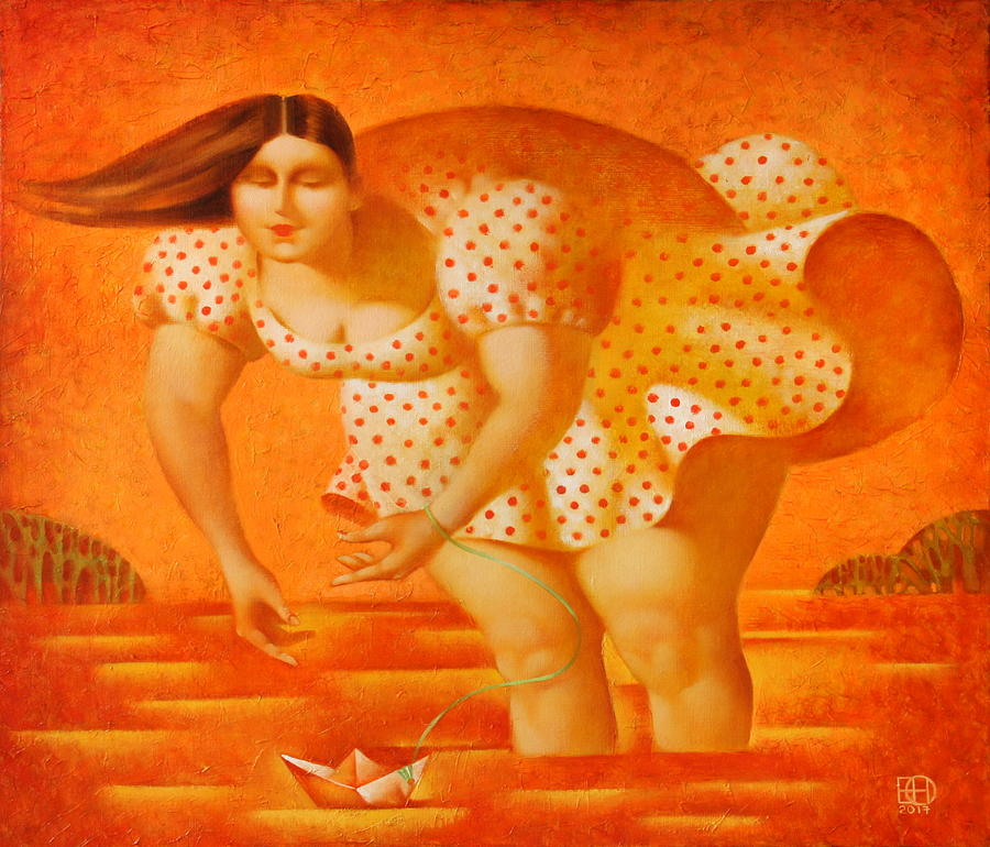 Woman Painting - Paper board by Nadia Egorova