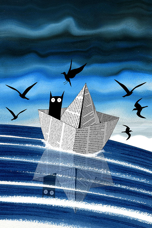 Paper Boat Painting - Paper Boat  by Andrew Hitchen