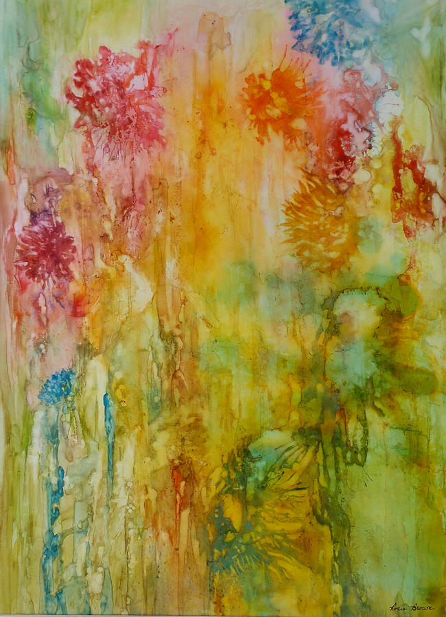 Abstract Painting - Paper Flowers by Rosie Brown