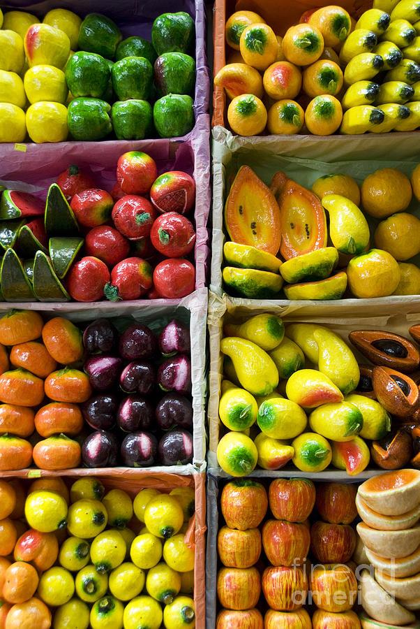Bright Photograph - Paper Mache Fruits by Gloria & Richard Maschmeyer - Printscapes