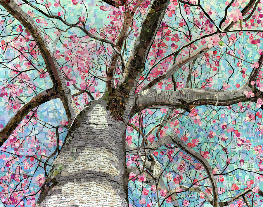 Paper Collage Mixed Media - Paper Magnolias by Shawna Rowe