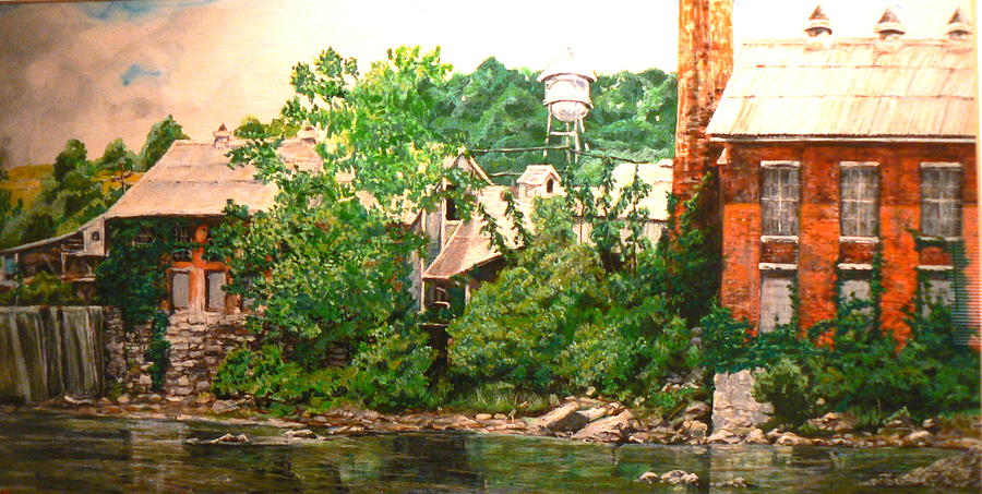 Landscape Painting - Paper Mill by Thomas Akers