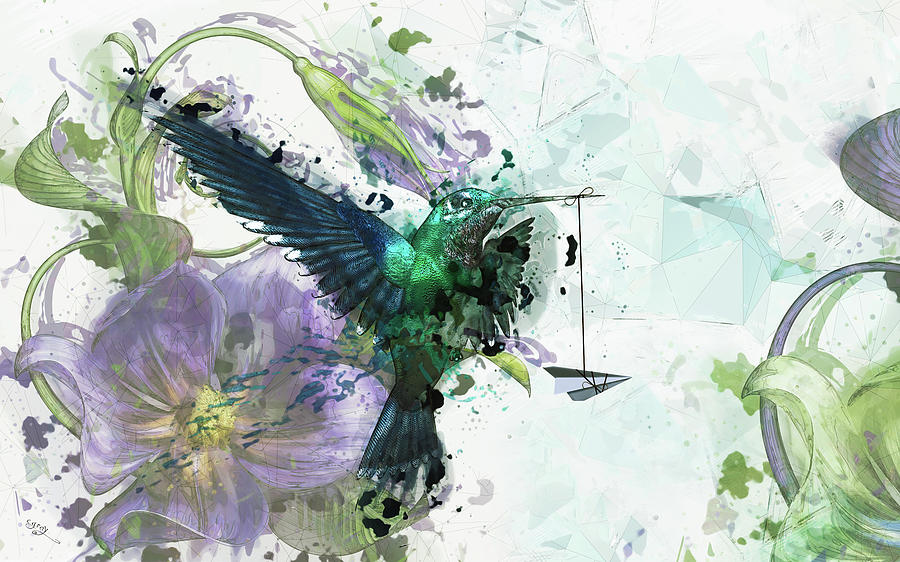 Hummingbird Digital Art - Paper Planes And Promises by Cameron Gray