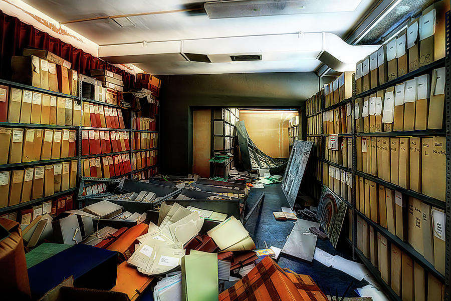 Abandoned Places Photograph - Papers Lodging - Luoghi Abbandonati Delle Passeggiate A Levante Deposito Carte  by Enrico Pelos