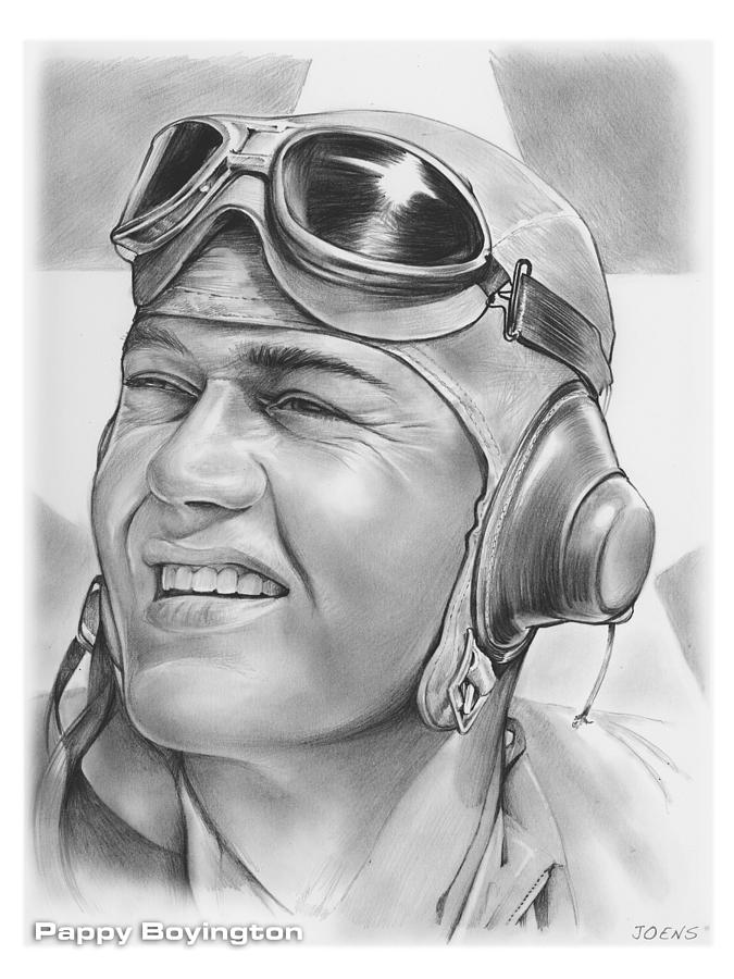 Hero Drawing - Pappy Boyington by Greg Joens
