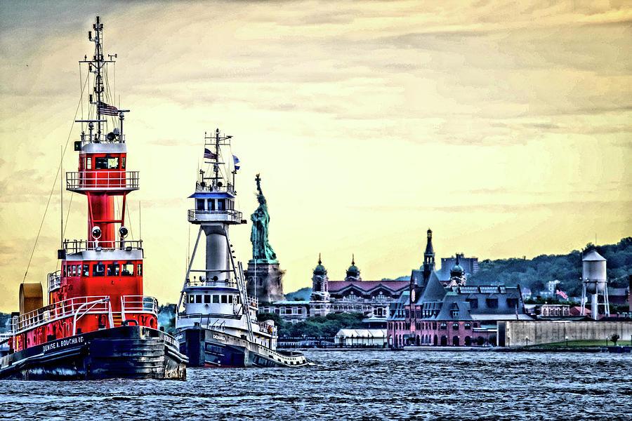 Tugs Photograph - Parade Of Tugs, Hudson River, New York City by Wayne Higgs