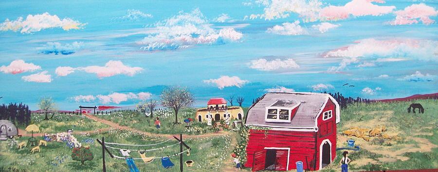 Folk Painting - Paradise Acres by Susan Michutka