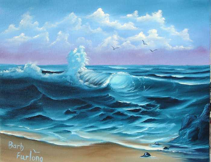 Seascape Painting - Paradise Beach Seascape Oil Painting by Barbara Furlong