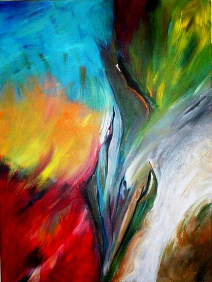 Abstract Expressionism Painting - Paradise Birds  by Rita  Ibrahim