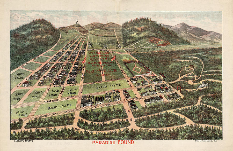 Paradise Found - Historical Birds Eye View Map Of Baird Estate - Historical Map Drawing