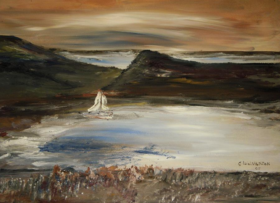 Landscape Painting - Paradise In The Evening by Edward Wolverton