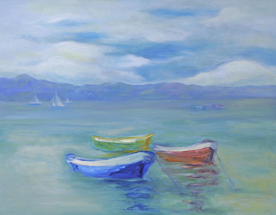 Water Landscape Painting - Paradise Island Boats by Barbara Anna Knauf
