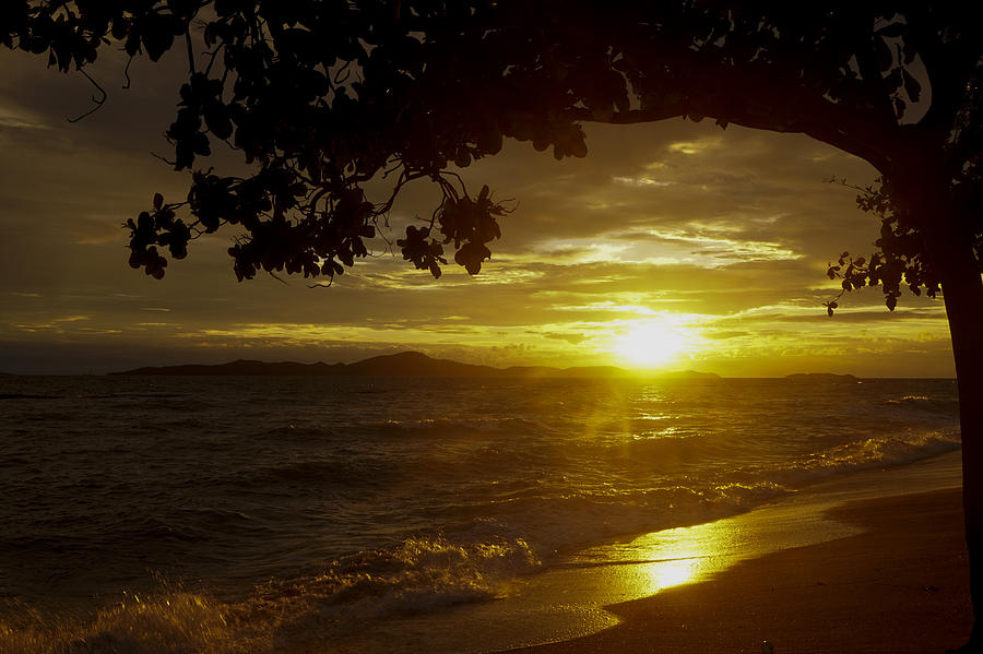 Bay Photograph - Paradise Lensflare Beach Sunset #9412 by Don Charisma