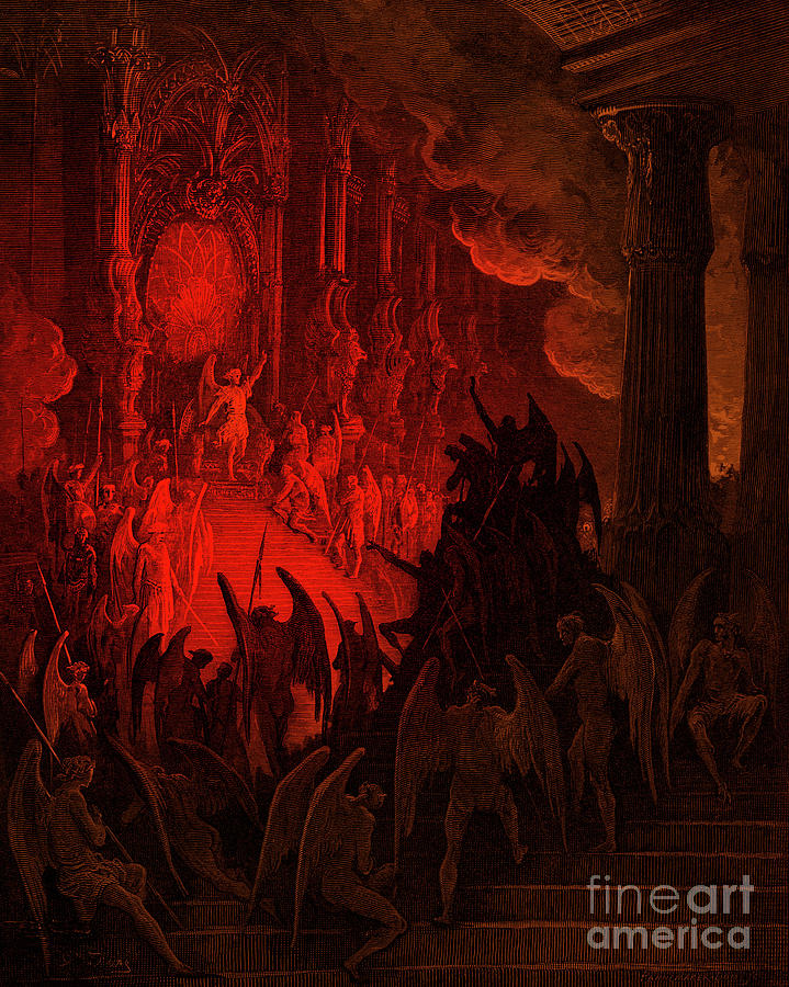 Paradise Lost Drawing - Paradise Lost  Satan In Council by Gustave Dore