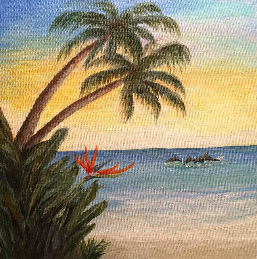 Palm Trees Painting - Paradise With Dolphins by Glenda Collins