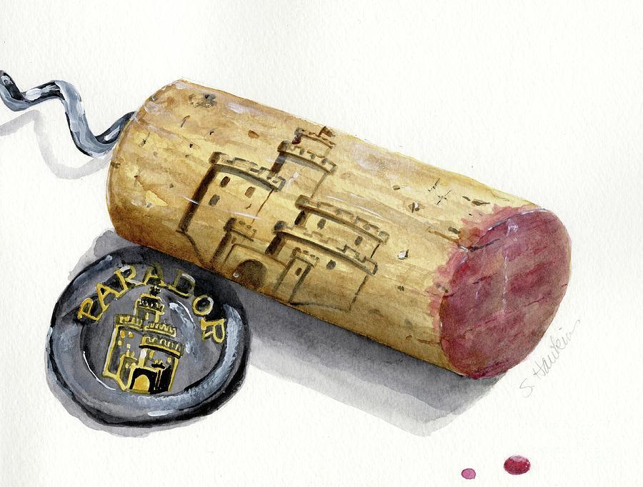 Watercolor Painting - Parador Wine Cork by Sheryl Heatherly Hawkins