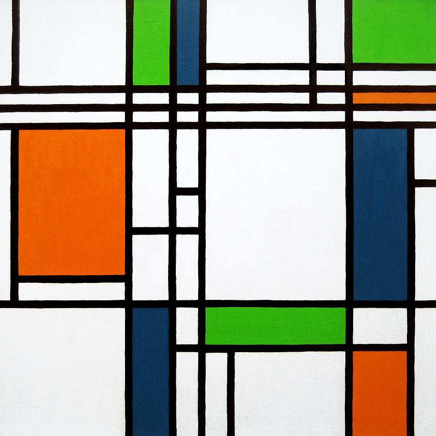 Squares Painting - Parallel Lines Composition With Blue Green And Orange In Opposition by Oliver Johnston