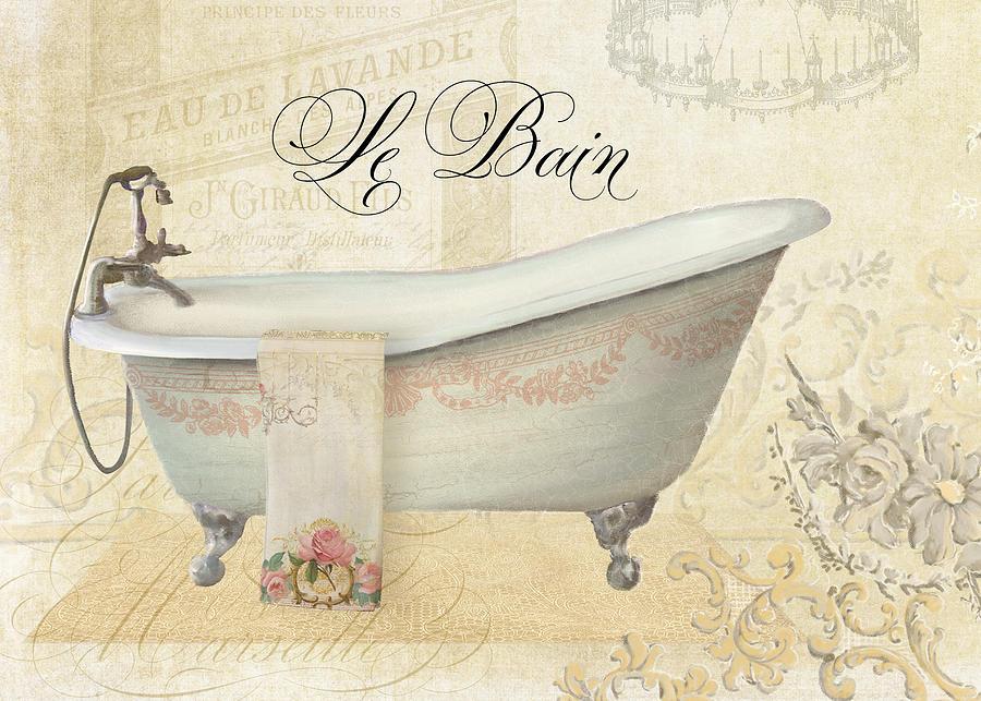 Parchment Paris Le Bain Vintage Bathroom Painting By