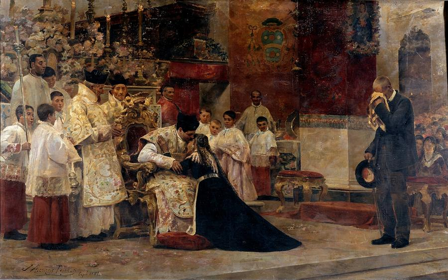 Background Painting - Parents of the celebrant after the New Mass ALCAZAR TEJEDOR, JOSE by Artistic Rifki
