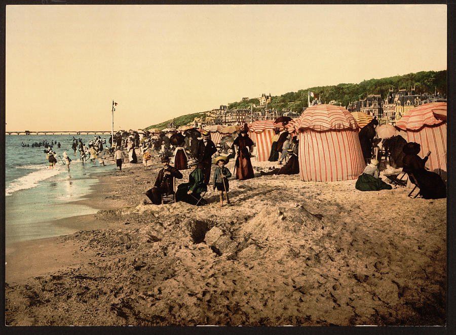 Paris Photograph - Trouville France Beach - The Good Old Days by Peggy Collins