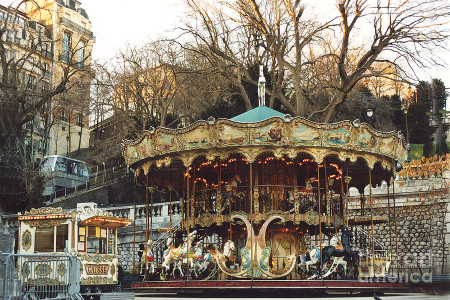Paris Carousel At Montmartre Sacre Coeur Cathedral