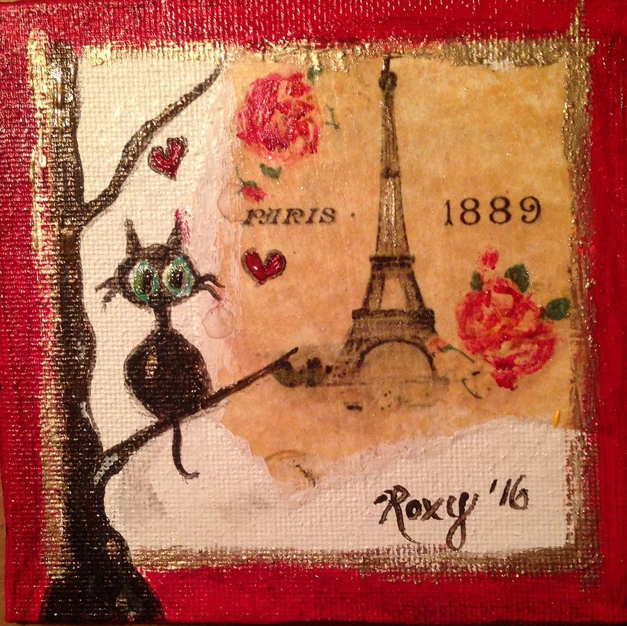 Cat Painting - Paris Cat  by Roxy Rich