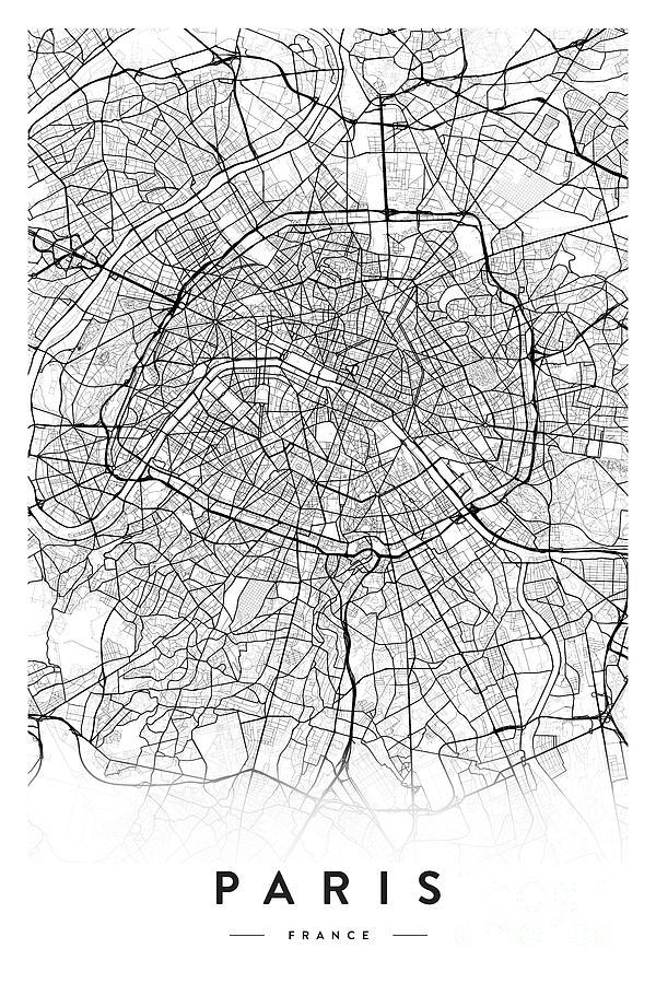 Paris City Map Digital Art by Scandinavian Walls