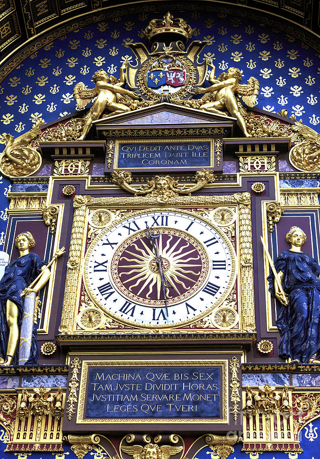 Clock Photograph - Paris Conciergerie Clock by John Rizzuto