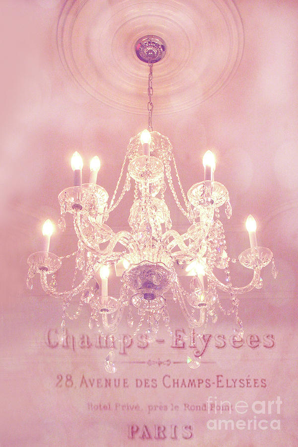 paris crystal chandelier pink sparkling chandelier paris dreamy pink chandelier art french script photograph by kathy fornal