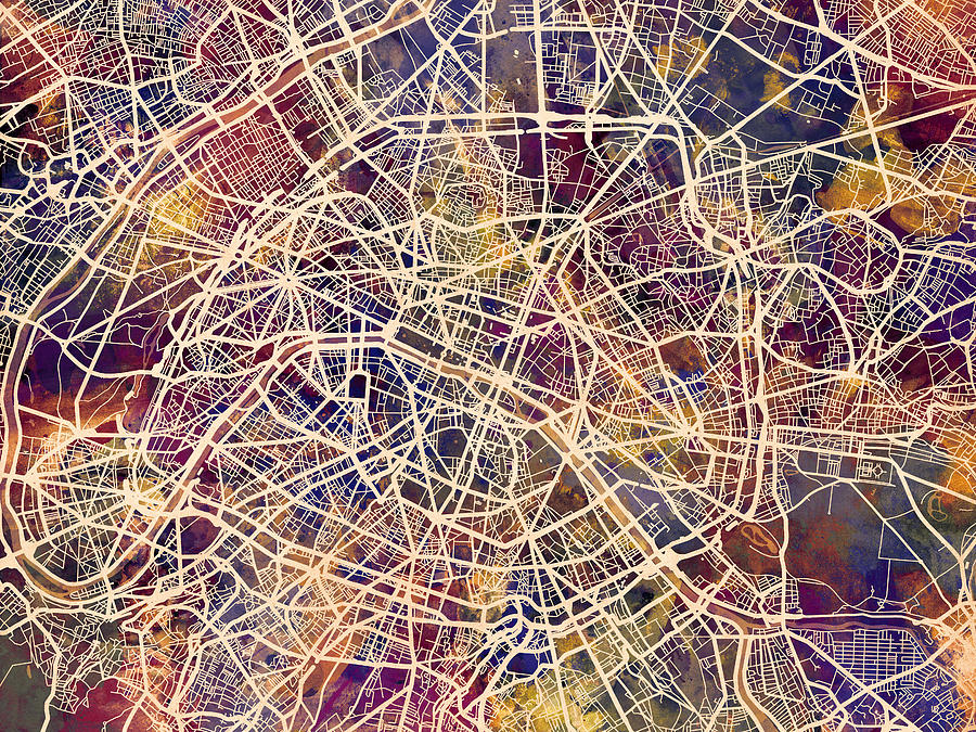 paris digital art paris france city street map by michael tompsett