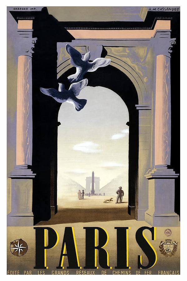 Paris, France - Place De La Concorde And The Arc De Triomphe - Retro Travel Poster - Vintage Poster Mixed Media