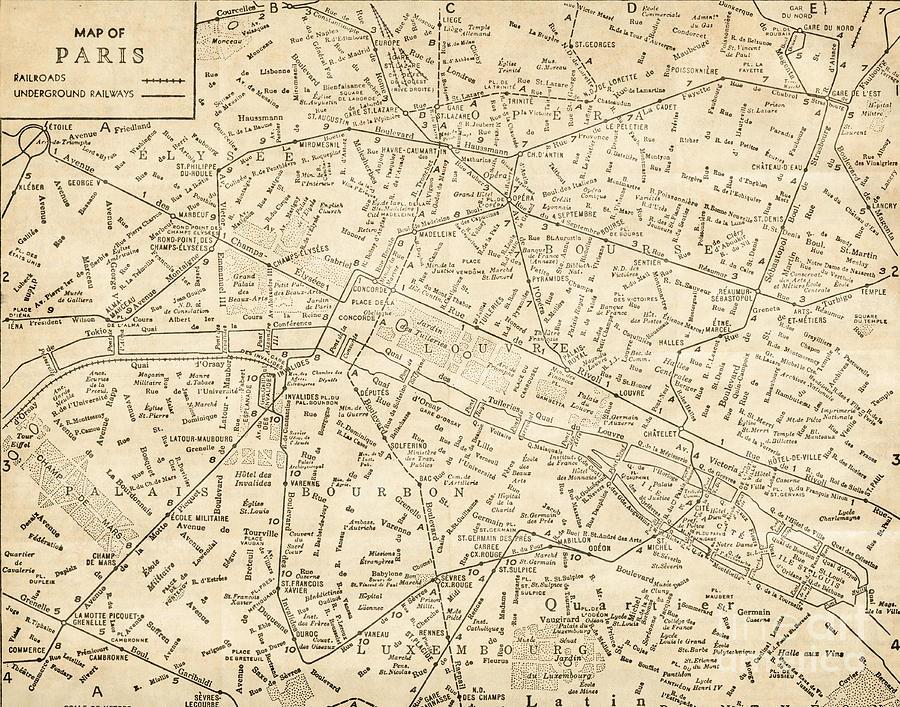 Vintage City Maps Paris France Vintage Antique Historic Railroad City Map Photograph
