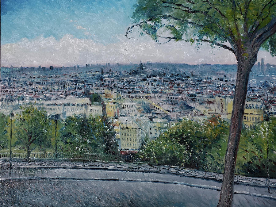 Landscape Painting - Paris From The Sacre Coeur Montmartre France 2016 by Enver Larney