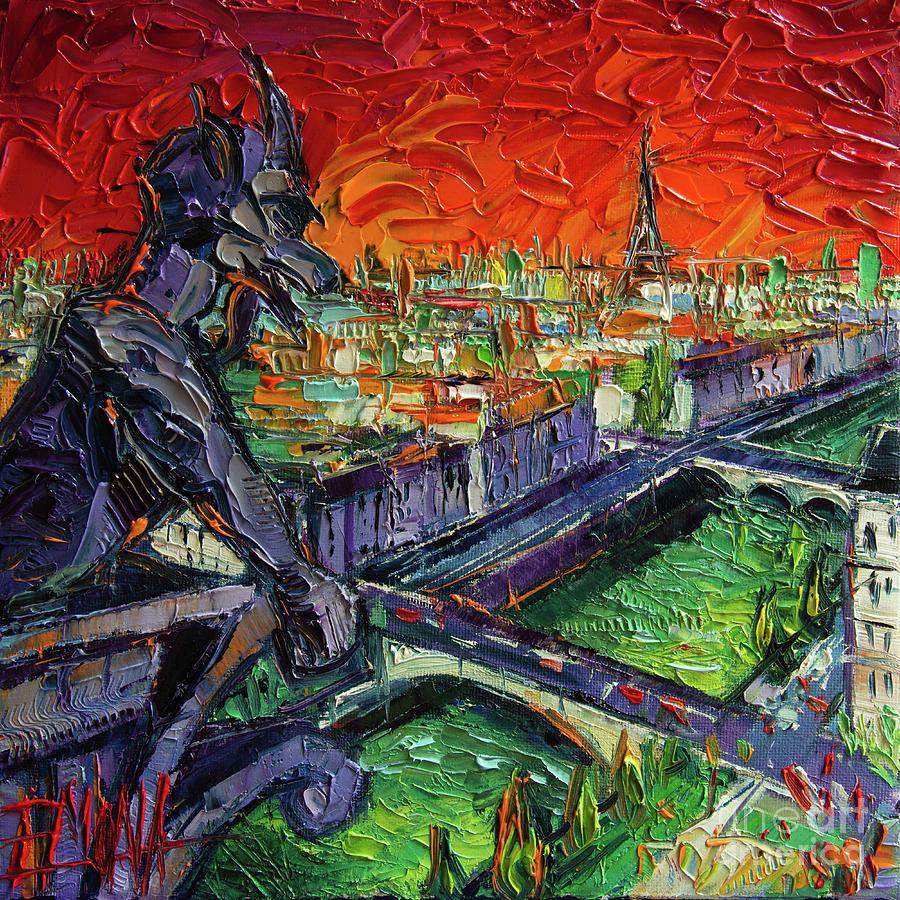 Contemplation Painting - PARIS GARGOYLE CONTEMPLATION Textural Impressionist Stylized Cityscape by Mona Edulesco