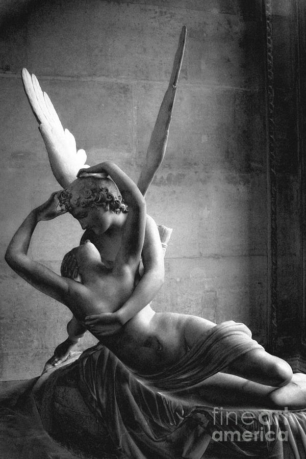 Paris photograph eros and psyche romantic lovers paris eros psyche louvre sculpture black and