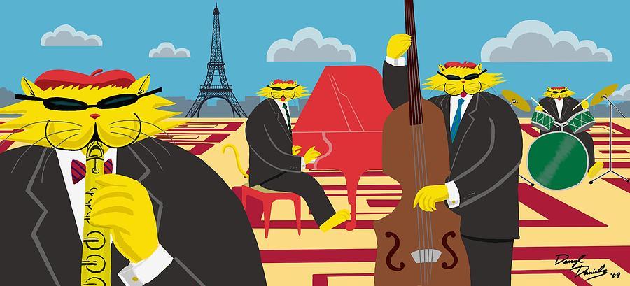 Cats Painting - Paris Kats - The Coolkats by Darryl Glenn Daniels