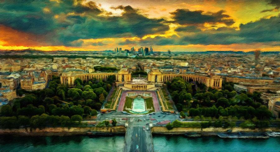 Paris Landscape Painting by Vincent Monozlay