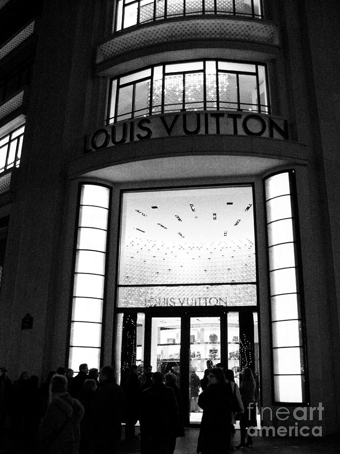 Paris Shopping Photograph - Paris Louis Vuitton Boutique - Louis Vuitton Paris Black And White Art Deco by Kathy Fornal