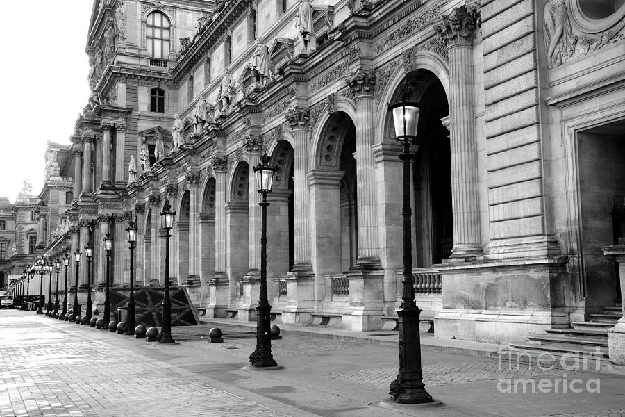 Paris Louvre Black And White Architecture - Louvre Lantern Lights Photograph by Kathy Fornal