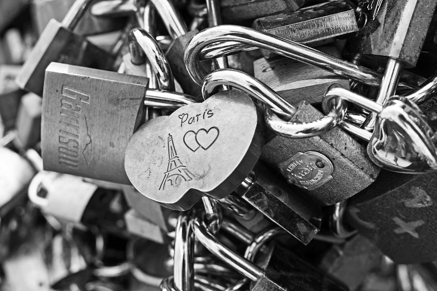 Paris Love Locks France Black And White Photograph By Toby McGuire