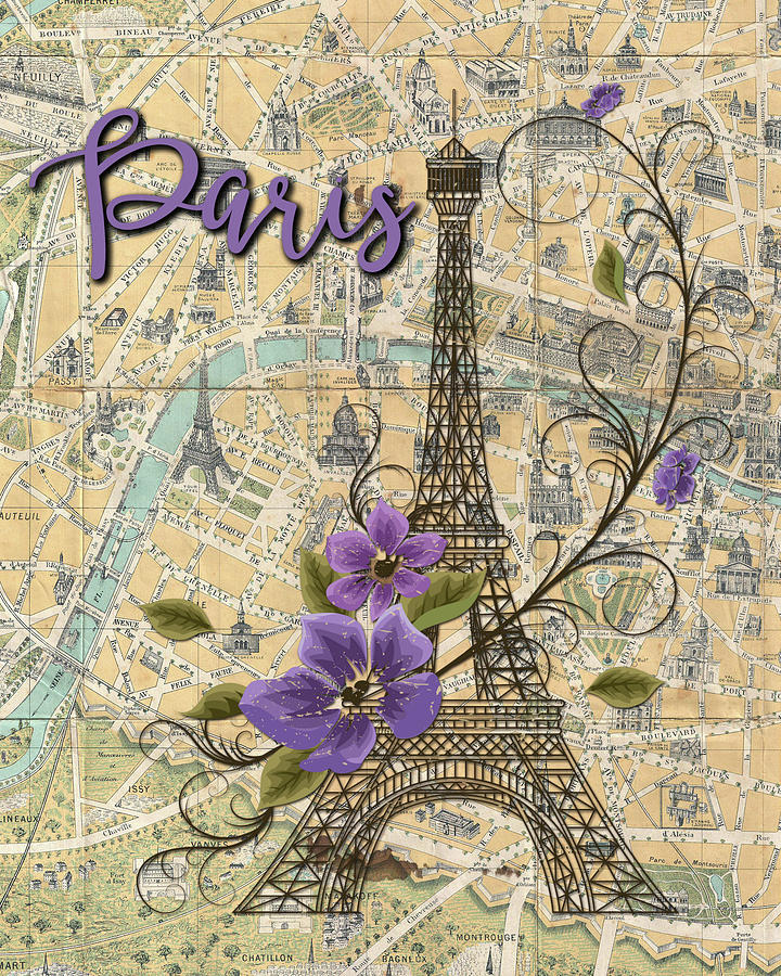 Paris Map With Eiffel Tower Digital Art By Becky Hayes