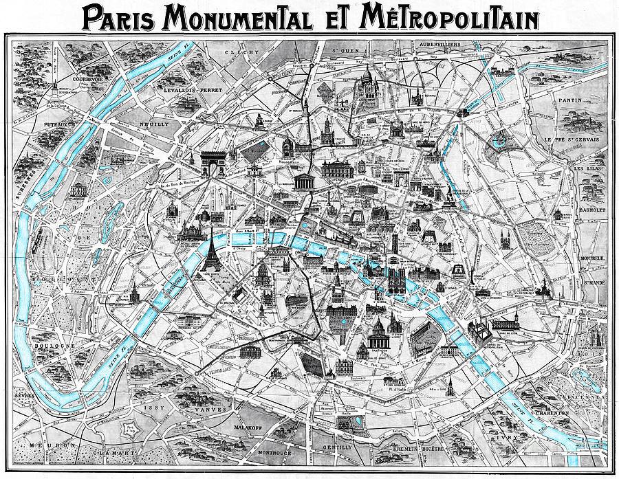 Paris Map Photograph - Paris Monumental by Delphimages Photo Creations