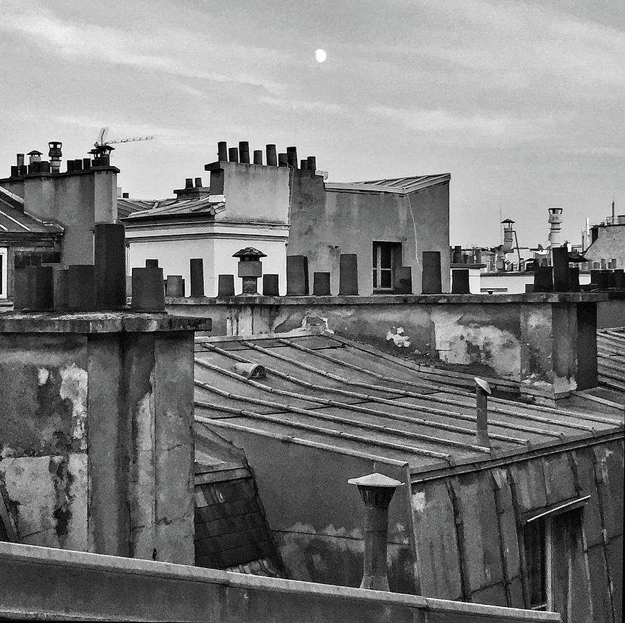 Paris Moon and Rooftops by Frank DiMarco