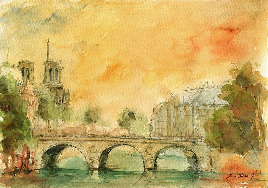 Paris Watercolor Painting - Paris Notre Dame by Juan  Bosco