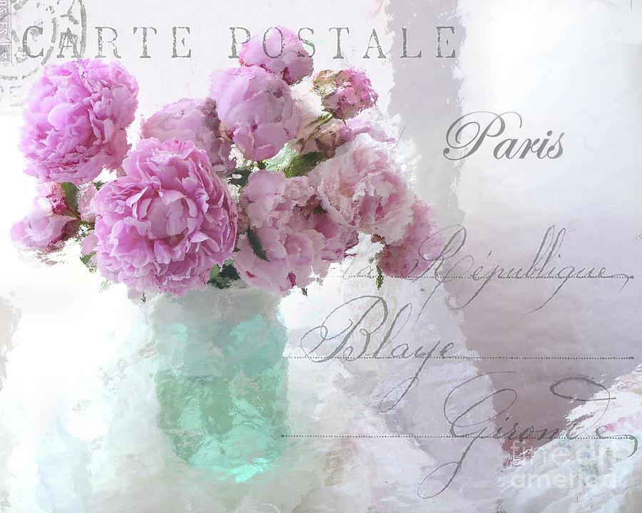Peony Photograph - Paris Peonies - Parisian Pink Peonies Pink Aqua French Decor - Paris Floral Wall Art Home Decor  by Kathy Fornal