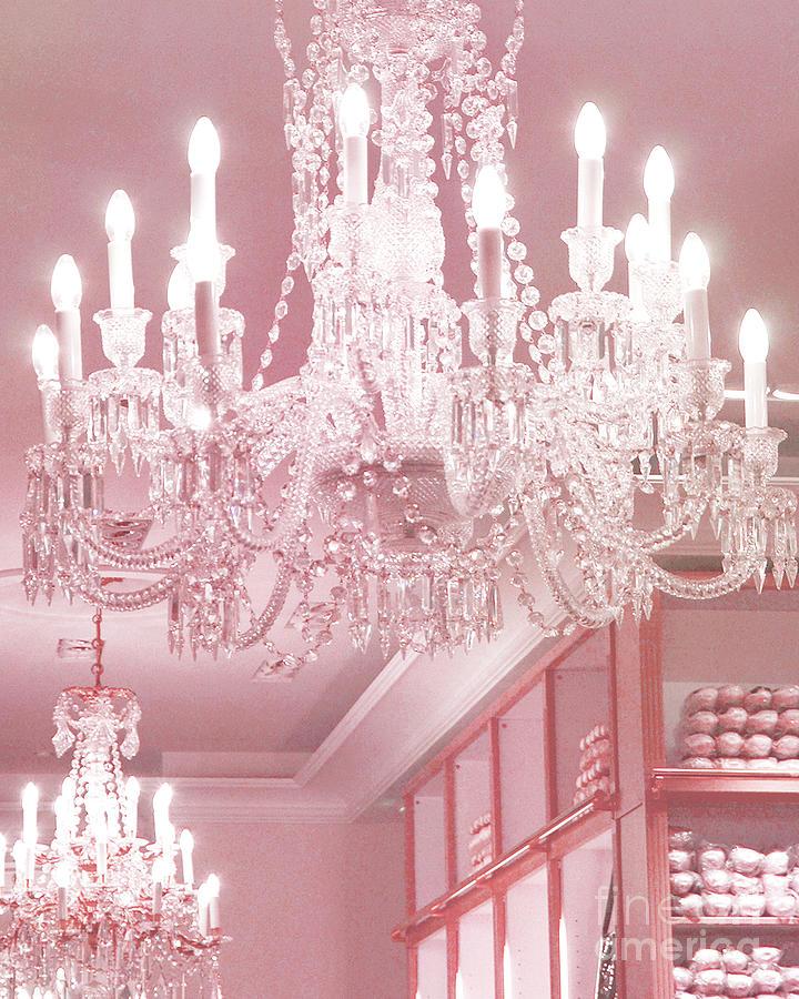 Paris Photograph - Paris Pink Crystal Chandelier - Paris Repetto Sparkling Chandelier Decor by Kathy Fornal
