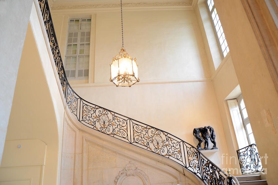 Rodin Photograph - Paris Rodin Museum Staircase - Rod Iron Black Staircase Archictecture - Paris Museum Staircase Print by Kathy Fornal