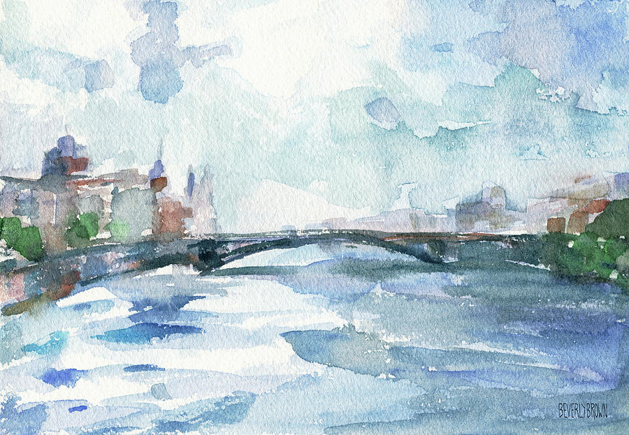 Paris Painting - Paris Seine Shades of Blue by Beverly Brown Prints