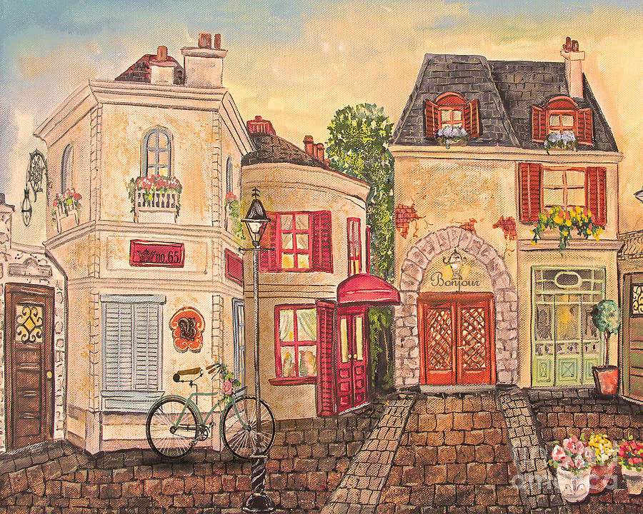 French Painting - Paris Street Scene-jp2866 by Jean Plout