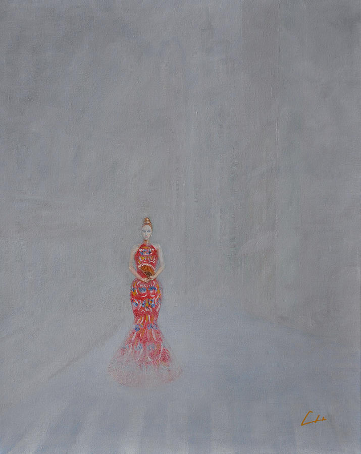 Ch Painting - Paris - Woman Holding A Fan In Haze by CH Narrationism